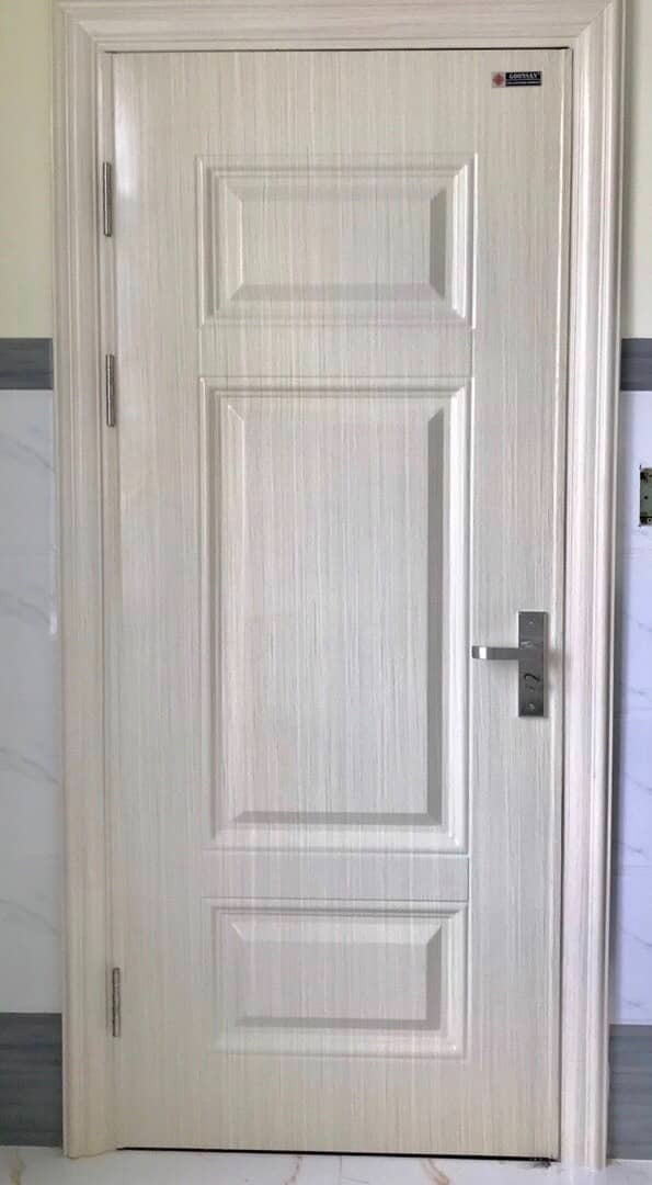 Mẫu cửa thép vân gỗ 1 cánh đẹp